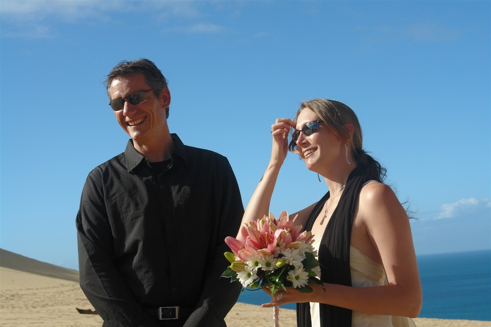 Cassandra and Greg held their commitment ceremony on the famous Carlo Sand Blow.  A stunning sand escarpment famous for panoramic views of Fraser Island and Double Island Point from Rainbow Beach.